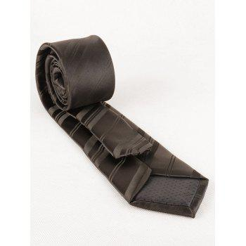 7.5CM Width Striped Pattern Silky Formal Business Tie - DARK BROWN