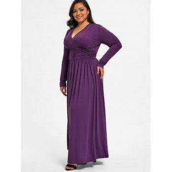 Plus Size Low Cut Empire Waist Dress - DEEP PURPLE 2XL