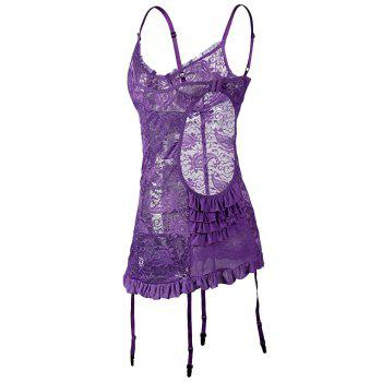 Plus Size Plunge Push Up Chemise with Garters - PURPLE 5XL
