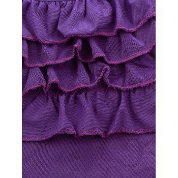 Plus Size Plunge Push Up Chemise with Garters - PURPLE 4XL