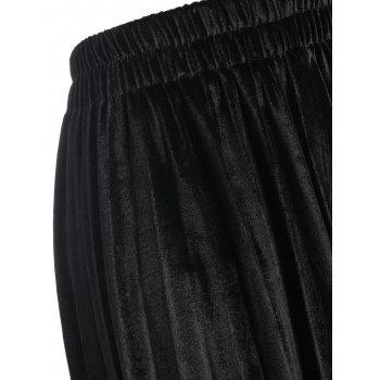 Elastic Waisted Plus Size Velvet Skirt - BLACK 6XL