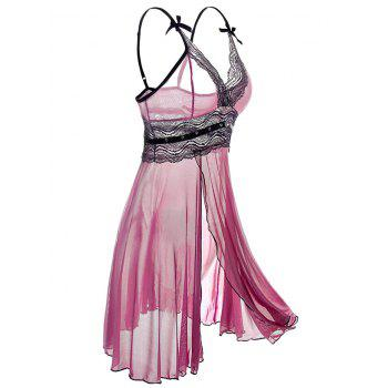 Plus Size Lingerie See-through Slit Babydoll - PURPLE 4XL