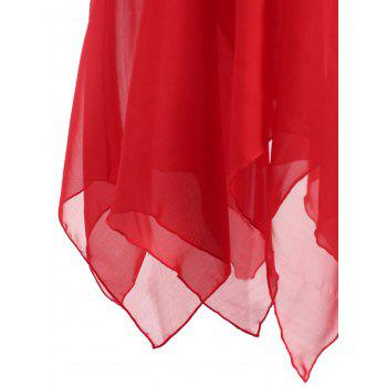 Plus Size Plunge Handkerchief Sheer Babydoll Dress - RED 3XL