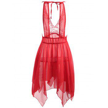 Plus Size Asymmetric Sheer Babydoll - RED 2XL