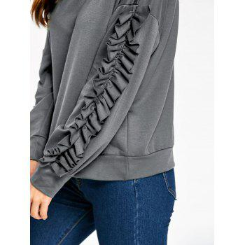 Drop Shoulder Ruffles Sleeve Sweatshirt - GRAY XL