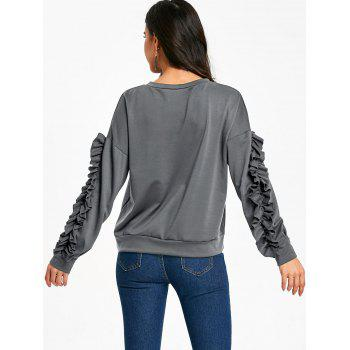 Drop Shoulder Ruffles Sleeve Sweatshirt - GRAY M