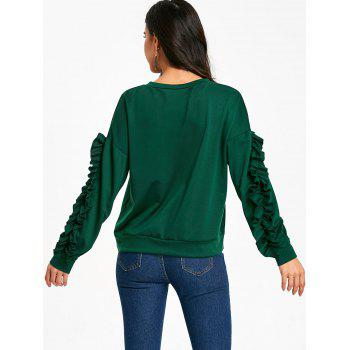 Drop Shoulder Ruffles Sleeve Sweatshirt - DEEP GREEN L