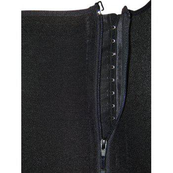 Plus Size Zip Up Underbust Full Body Corset - BLACK 4XL