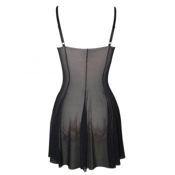 Plus Size See Thru Bustier Babydoll - BLACK XL