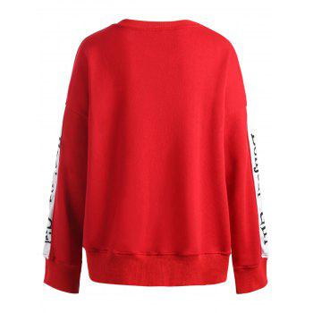 Long Sleeve Plus Size Letter Print Sweatshirt - RED 4XL
