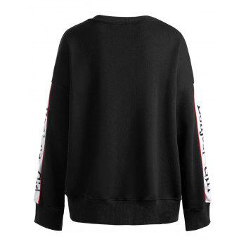 Long Sleeve Plus Size Letter Print Sweatshirt - BLACK 2XL