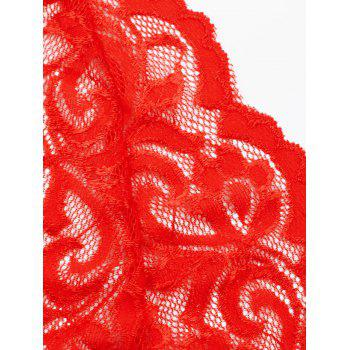 Plus Size Lingerie Sheer Plunging Babydoll - RED 4XL