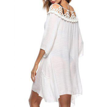 See Through Crochet Cover Up Dress - WHITE ONE SIZE