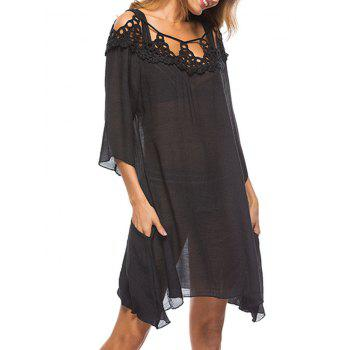 See Through Crochet Cover Up Dress - BLACK ONE SIZE