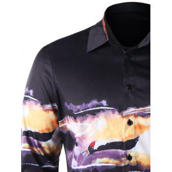 Auspicious Clouds with Gruidae Print Shirt - BLACK M