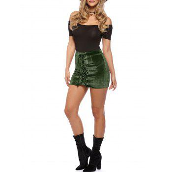 Criss Cross Mini Velvet Bodycon Skirt - ARMY GREEN M