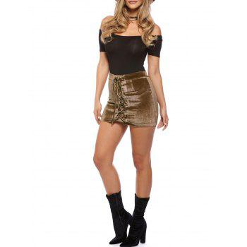 Criss Cross Mini Velvet Bodycon Skirt - COFFEE S