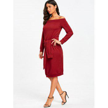 Off Shoulder Tie Waisted Sweatshirt Dress - RED S