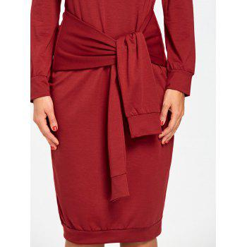 Off Shoulder Tie Waisted Sweatshirt Dress - RED M