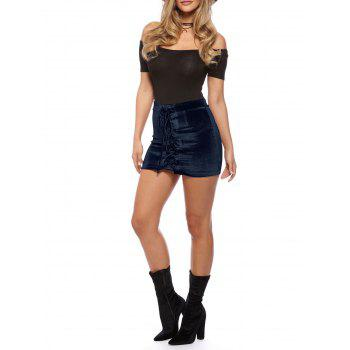 Criss Cross Mini Velvet Bodycon Skirt - MIDNIGHT L