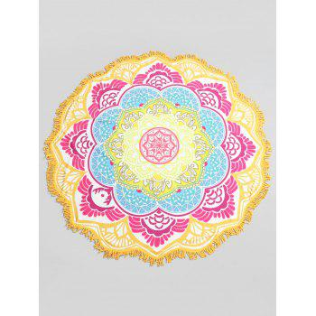 Color Block Flower Print Beach Throw - GREEN ONE SIZE