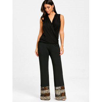 Sequins Lace Panel Trim Straight Pants - BLACK S