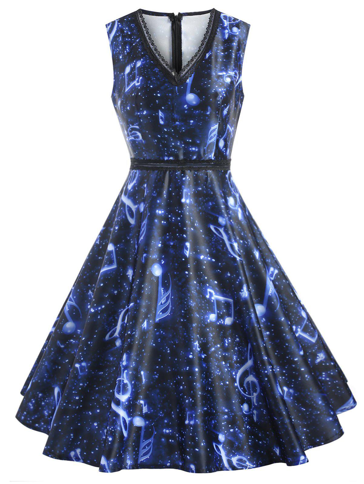 Music Note Print Lace Insert Dress - BLUE 2XL