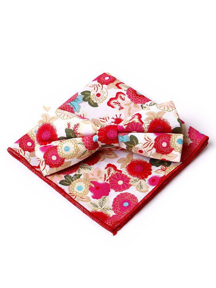 Vintage Flowers Pattern Bowtie Handkerchief Set - RED