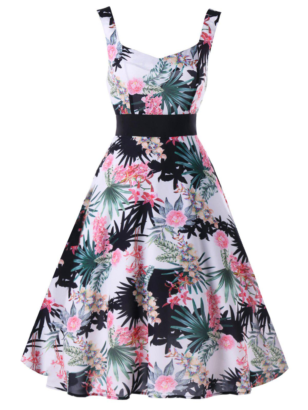 Floral Leaf Printed Sleeveless Flare Dress sleeveless floral leaf printed vintage dress
