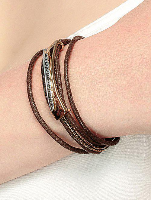 Feather Multiple Rope Alloy Bracelet - GOLDEN