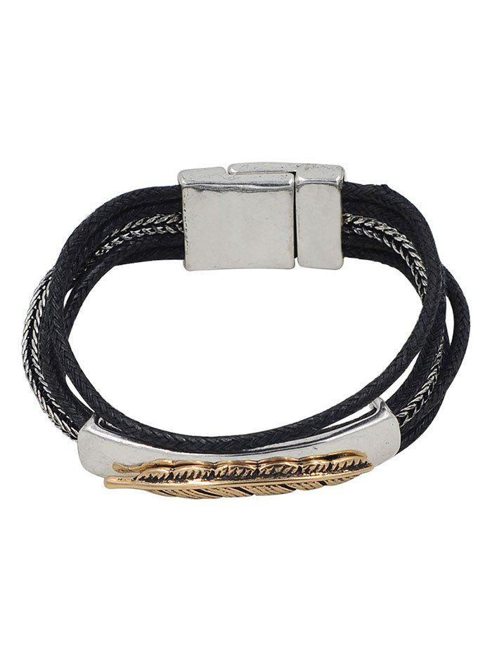Feather Multiple Rope Alloy Bracelet - SILVER