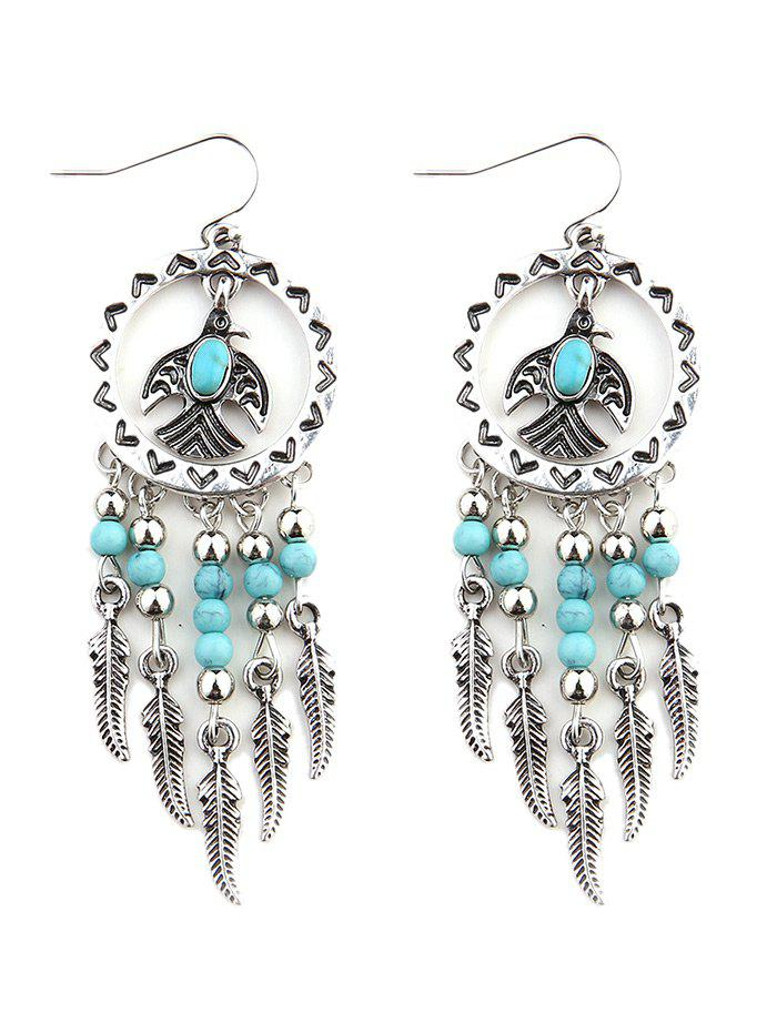 Turquoise Bead Embellished Metal Drop Earrings - SILVER