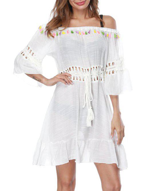 See Through Crochet Beach Cover Up Dress - WHITE ONE SIZE