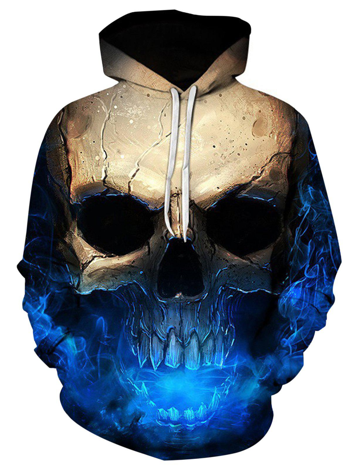 Hooded 3D Skull Print Trippy Hoodie - COLORMIX 4XL