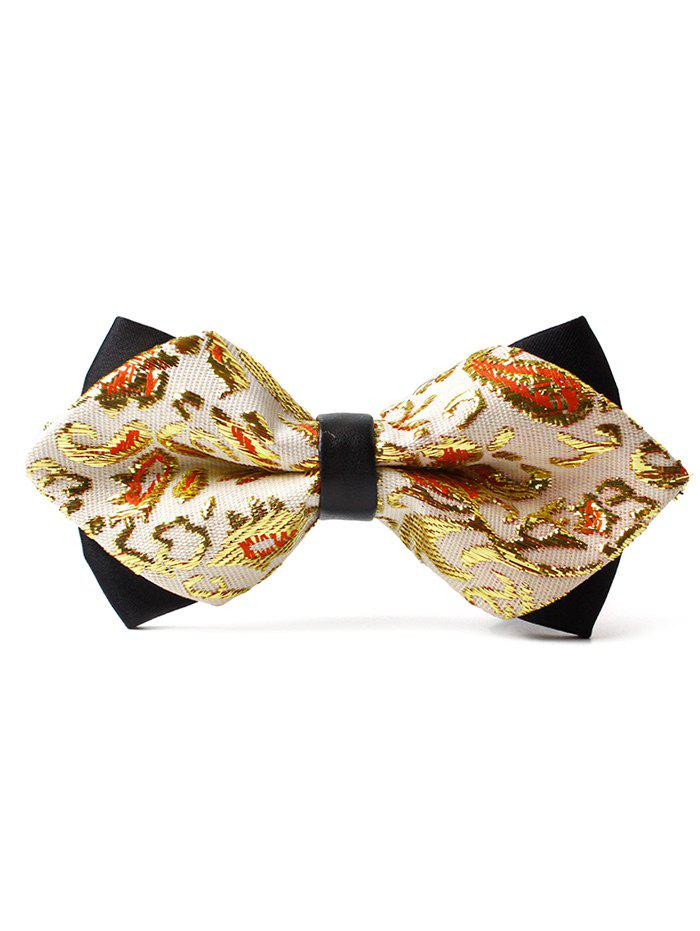 Unique Floral Pattern Shimmer Bowtie - GOLDEN