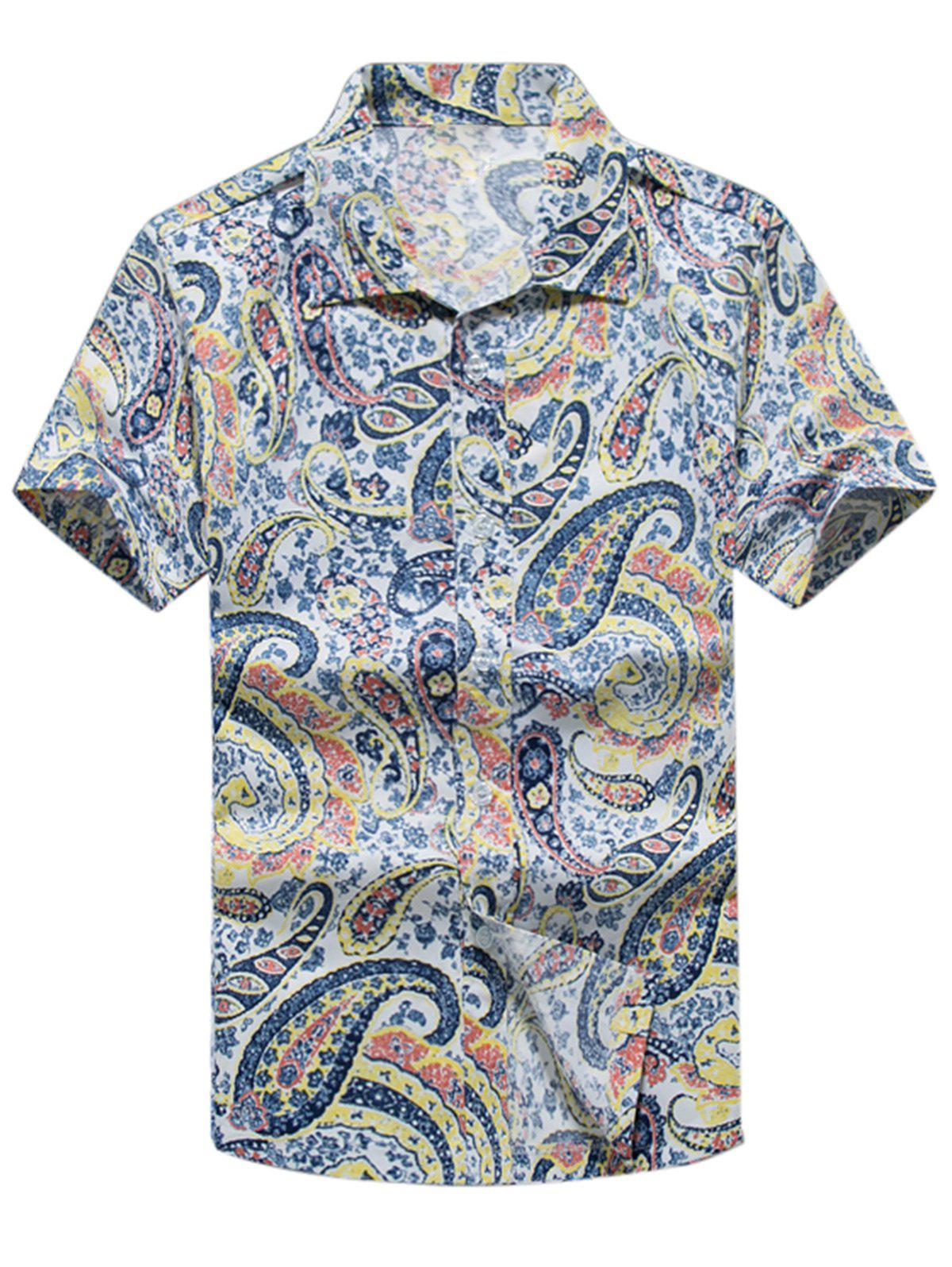 Casual Paisley Print Short Sleeve Shirt - YELLOW 4XL
