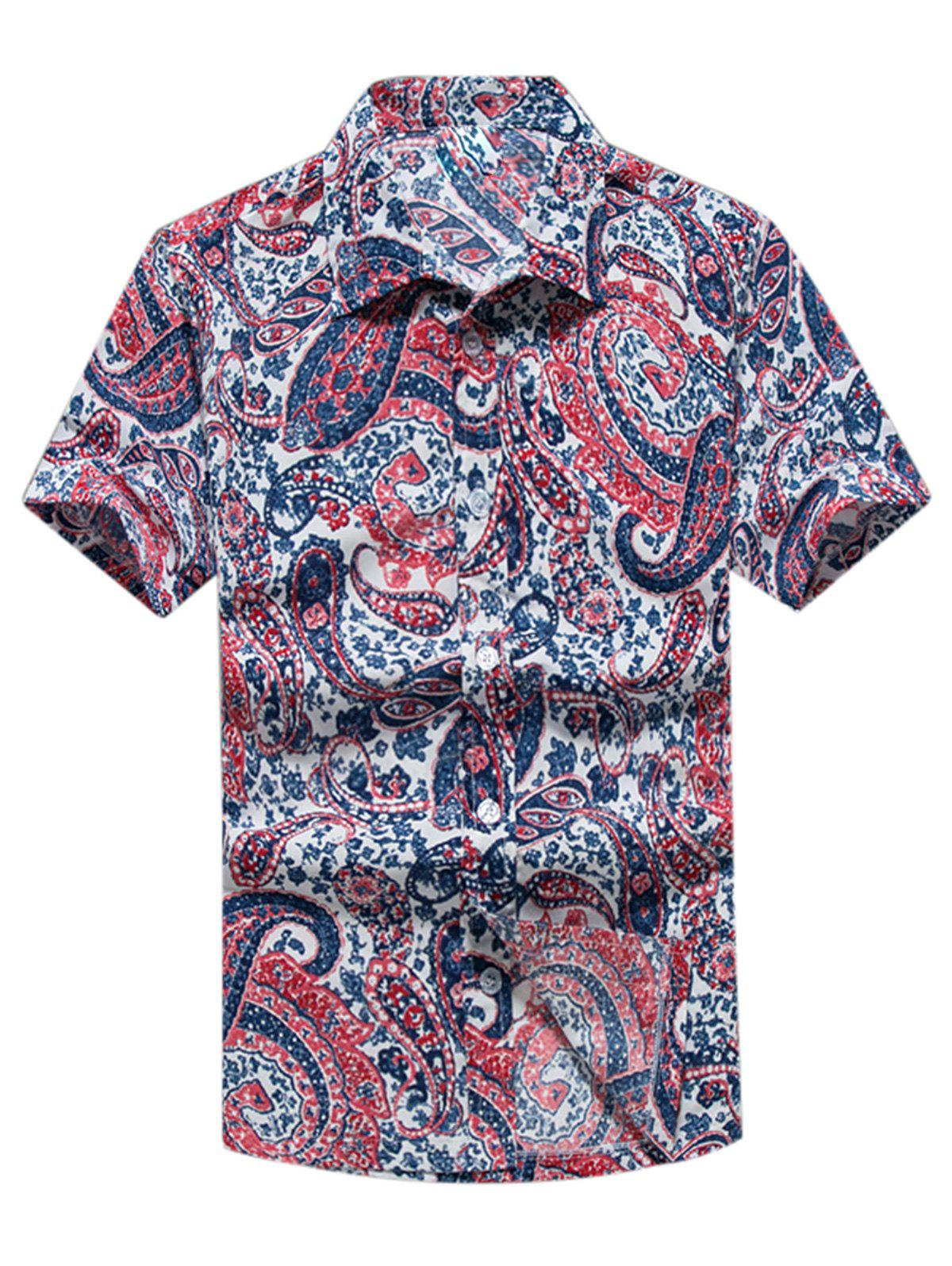 Casual Paisley Print Short Sleeve Shirt - RED 2XL