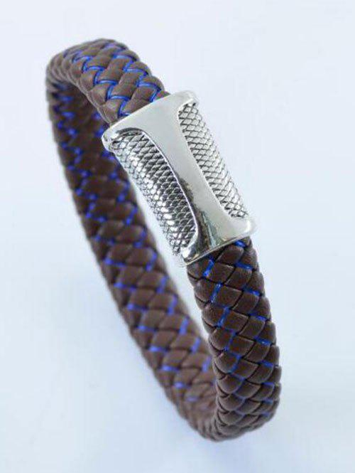 Simple Artificial Leather Rope Braid Bracelet - BLUE / BROWN