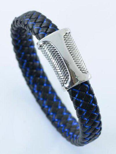Simple Artificial Leather Rope Braid Bracelet - BLACK/BLUE