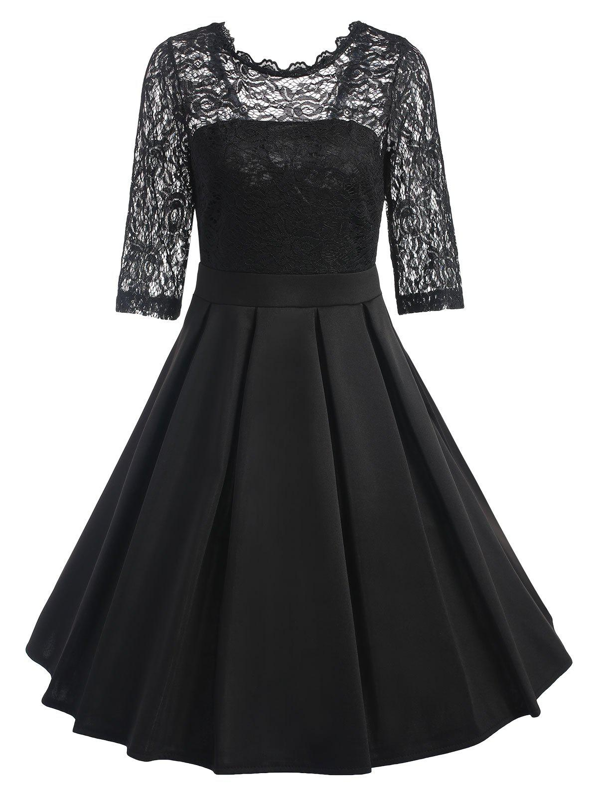 Lace Trim Vintage Skater Dress - BLACK S
