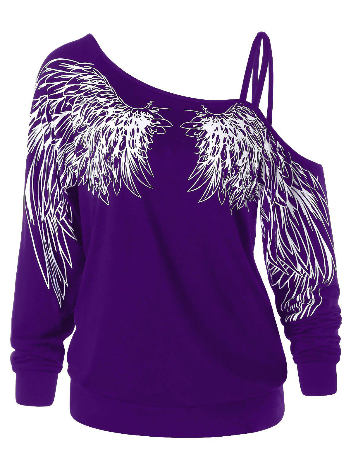 Wing Print One Shoulder Long Sleeve Top - PURPLE L