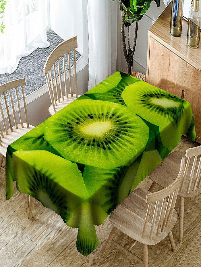 Waterproof Delicious Kiwi Fruit Print Table Cloth - GREEN W60 INCH * L84 INCH