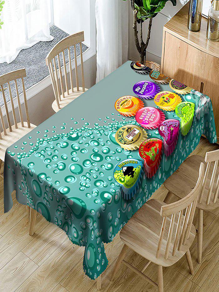 Bottle Caps Print Polyester Waterproof Table Cloth - COLORMIX W60 INCH * L84 INCH