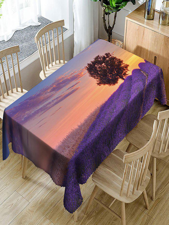 Lavender Fields and Tree Pattern Waterproof Table Cloth - COLORMIX W54 INCH * L72 INCH