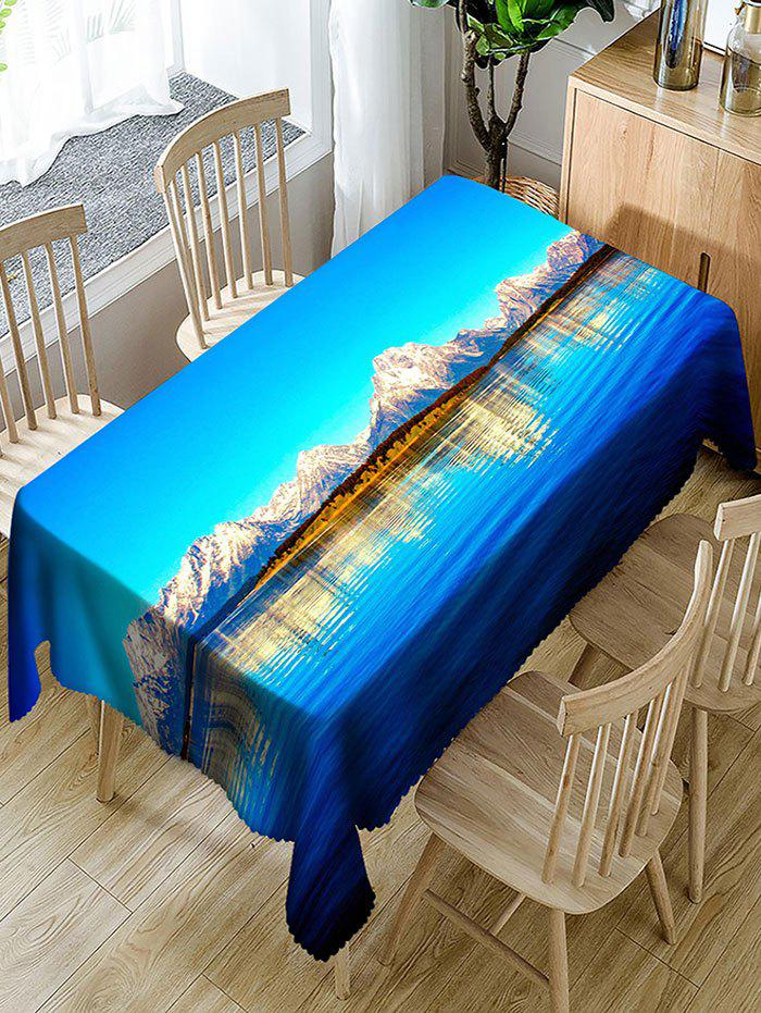 Natural Scenery Polyester Waterproof Table Cloth - BLUE W54 INCH * L72 INCH