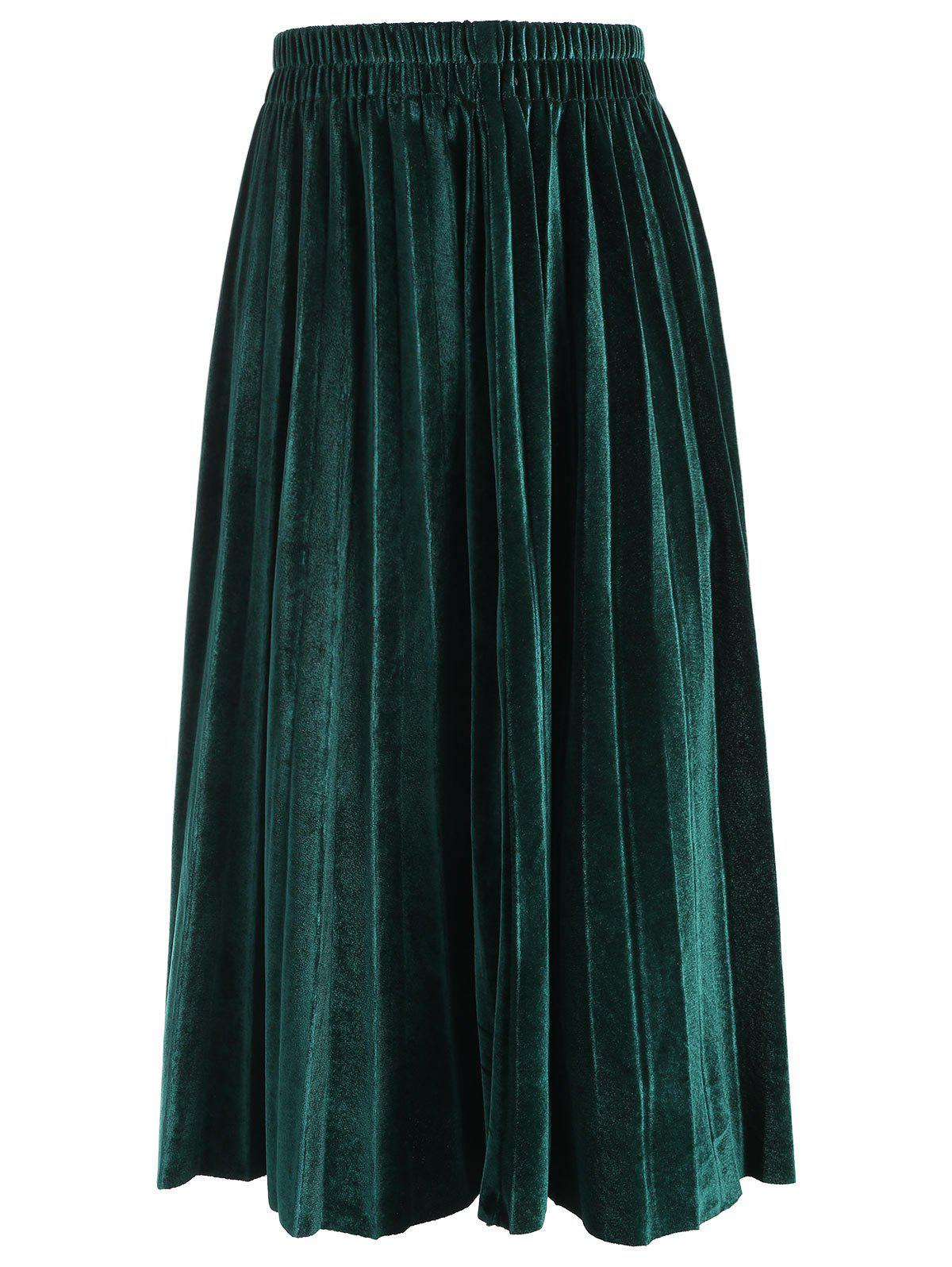 Elastic Waisted Plus Size Velvet Skirt - BLACKISH GREEN 6XL