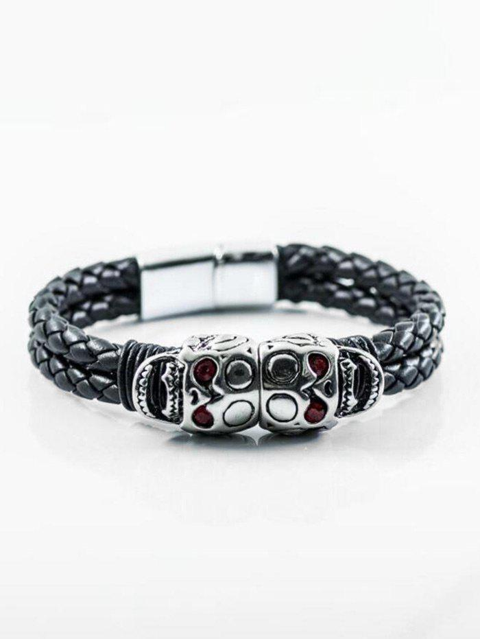 PU Leather Rope Braid Skulls Bracelet - RED
