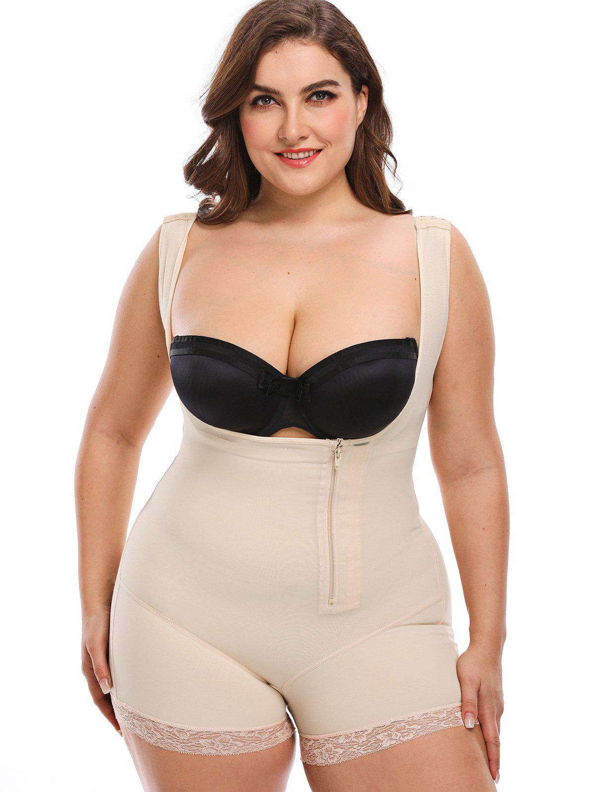 Plus Size Zip Up Underbust Full Body Corset - COMPLEXION 5XL
