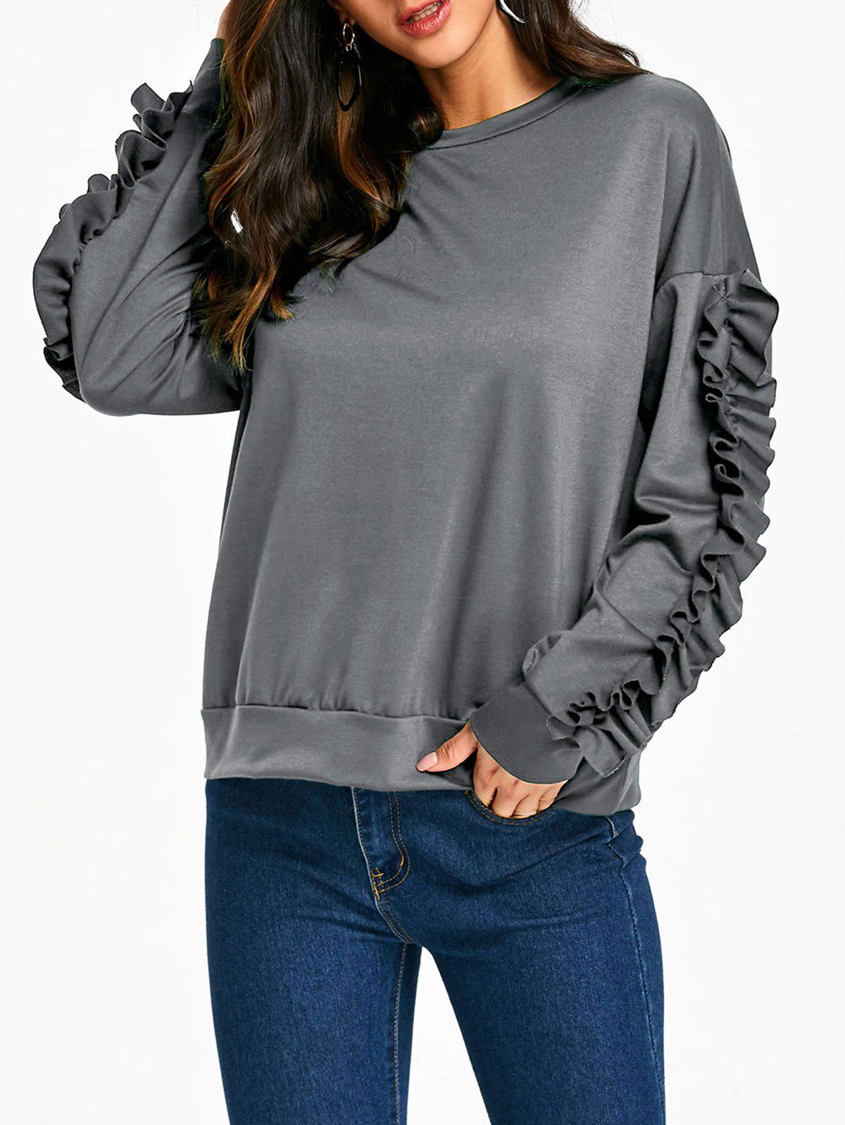 Drop Shoulder Ruffles Sleeve Sweatshirt - GRAY L