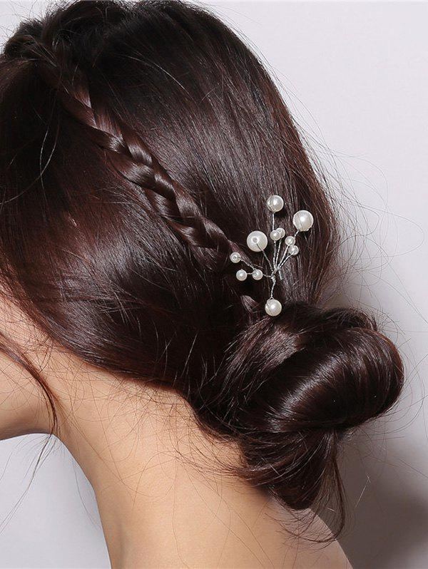 Faux Pearl Wedding Hair Stick - SILVER